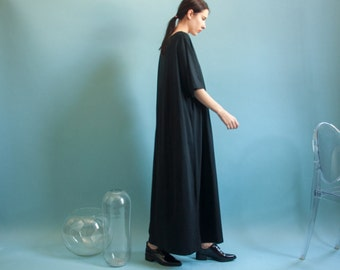 black cotton oversized t shirt maxi dress / minimalist t shirt dress / oversized simple sack  dress / s / m / l / 1393d / B3