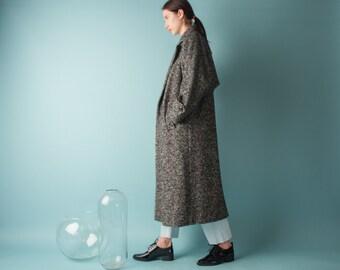 oversized tweed coat / long minimalist coat / winter coat / s / m / 761o / R3