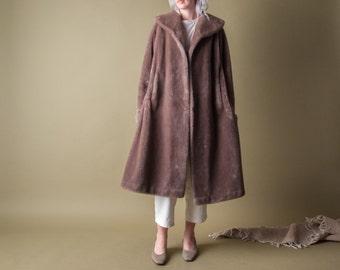 three loves 60s faux fur coat / vintage swing coat / vintage MOD coat / s / m / 858o