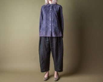 icabod purple suede button up top / leather dress shirt / colorblock suede jacket / s / 942t