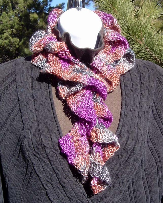 On SALE Stormy Night Hand Crocheted Bamboo Spiral Scarf Gray Copper Fuchsia Rose