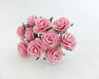 Pink paper roses - 20mm pink paper roses - pink paper flowers