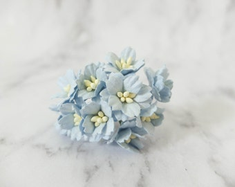 10 20mm light blue paper cherry blossoms - 2 cm blue paper flowers with wire stems