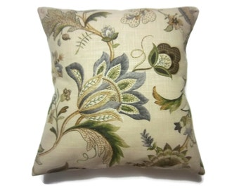 Decorative Pillow Cover Floral Design Silver Gray Shades of Green Tan Linen Same Fabric Front/Back  Toss Throw Accent 18x18 inch x