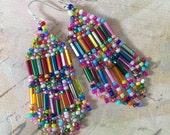 Small Beaded Confetti Fringe Seed Bead Earrings Beaded Dangle Earrings