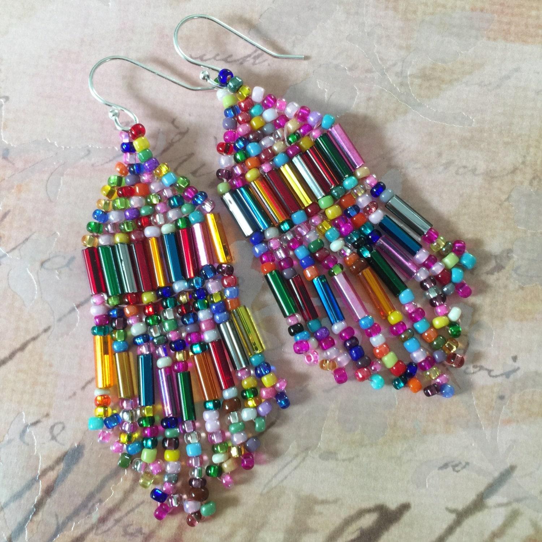 small beaded confetti fringe seed bead earrings beaded dangle