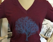 Deep V Neck Willow Tree Tee Cranberry XL only 1 left!