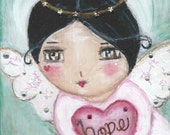 Lil' Hope Angel Block Art Original painting