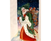 Handpainted needlepoint canvas Lg Victorian Santa in Green Robe