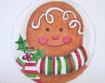 Handpainted Joyful Gingerbread needlepoint canvas