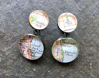 Vintage Chicago Earrings Park Maps  Grant Lincoln Humbolt Ogden Sterling Silver Oxidized : Traveling Love Letters Free US Shipping