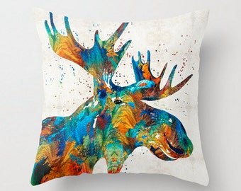 Throw Pillow Colorful Moose Art COVER Design Home Sofa Bed Chair Couch Decor Artsy Decorating Cabin Living Room Bedroom Colorado Midwest