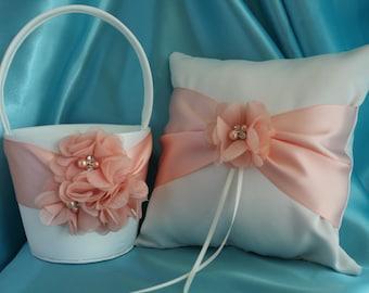 Ivory Flower Girl Basket with Light Peach Sash and Light Peach Chiffon Flowers Flowers-Custom Colors
