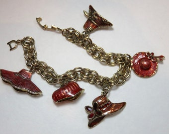 SJK Vintage -- Monet Signed Double Link Gold Tone Charm Bracelet, Red Hat Society, Red Enamel (1960's-70's)
