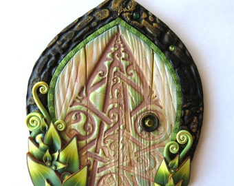 Celtic Fairy Door, Miniature Fairy Garden Decor, Polymer Clay