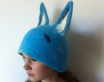 Blue Fox Hat -- Hand Felted Wool -- Size Medium