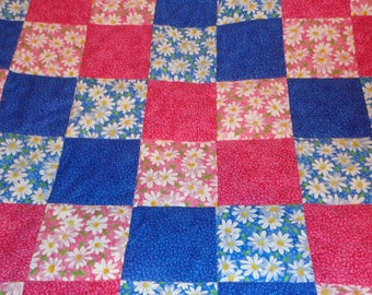 Pink and Blue Daisy Baby Toddler Patchwork Handmade Quilt