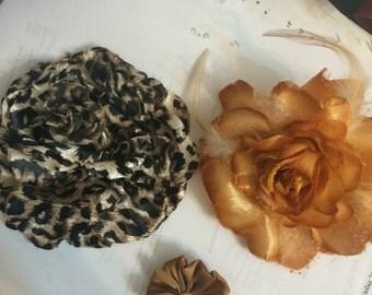 Leopard Satin Flower Ponyholder, Marigold Satin Flower Brooch Pin and Gold Satin Flower Clip