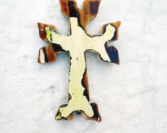 Beige Armenian Cross, Salvaged Wood Cross Art, Distressed Cross, Wooden Wall Cross, Primitive Cross, Rustic Wall Decor Christian Decor