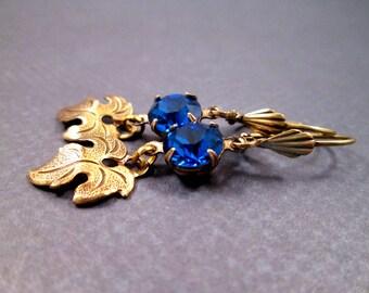 Brass Leaf Earrings, Royal Blue Glass Rhinestone Earrings, Dangle Earrings, FREE Shipping U.S.