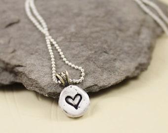 My Heart - Fine Silver Pebble Necklace
