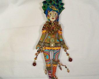 OOAK Vibrant Tribal Treasures Queen beaded cloth art doll 14 in. tall Fantasy Goddess