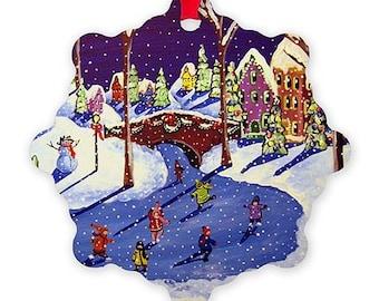 Ice Skaters Christmas Whimsical Colorful Folk Art Holiday Snowflake Aluminum Ornament