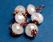Opaque White Crystal Charm Dangles, Wire Wrapped Rondelles - Silver or Copper - 6pc Set Handmade Beaded Charms, Jewelry Making