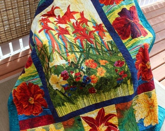 "OMA's GARDEN handmade throw Quilt  Quilt Tiger Lilies and Blooms 53"" x 69"" Ready to Ship"