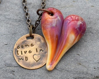 Lampwork Glass Heart Pendant Boro Hand-Stamped Tag Come Live in My Heart