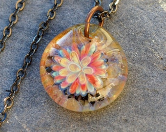 Glass Flower Pendant, Boro, Borosilicate Lampwork Necklace, Jewelry Orange - La Petit Fleur
