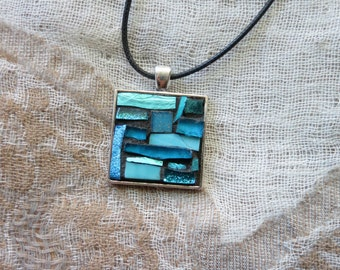 Aqua Mosaic Patchwork Pendant