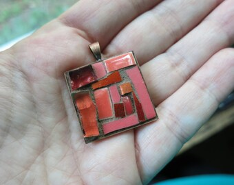 Colorful Coral Orange Mosaic Pendant with Copper Bezel