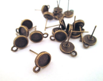 6mm brass plated bezel connector earrings with earnuts, pick your amount, C147