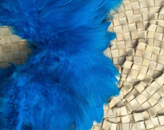 Schlappen feathers 3-5  inch length, bright turquoise-rooster feathers- Craft, Tahitian costume supply