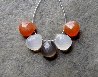 AAA Peach and Grey Moonstone Faceted Heart Briolettes - 7mm