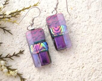 Purple Lavender Earrings, Dichroic Earrings, Purple Dichroic Jewelry, Fused Glass Jewelry, Dangle Drop Earrings, Sterling, OOAK, 022816e100