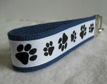 Paw Print Key Fob - Black White on BLUE Key Chain - Cat Paw Print Wristlet - Dog Paw Print - Panther Paw Print - School Mascot Key Ring