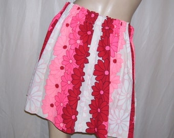 Hawaiian Mini Skirt Beach Skirt Vintage Hawaii Fabric Luau Tiki Hot Pink Red White Daisy Hippie Mini Cruise Resort Pool Party OOAK Adult S-L
