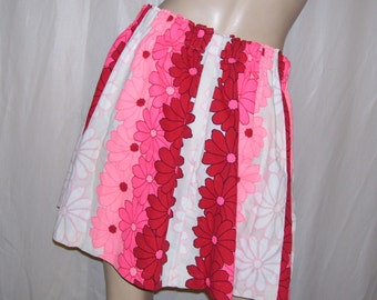 Hawaiian Mini Skirt Beach Skirt Vintage Hawaii Fabric Luau Tiki Hot Pink Red White Daisy Hippie Mini Cruise Resort Pool Party OOAK Adult S-L