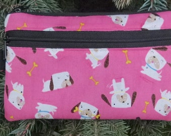 Dog mini wallet, purse organizer, wristlet, Perky Puppy, Sweet Pea