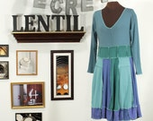 Periwinkle, soft greens and blues upcycled dress