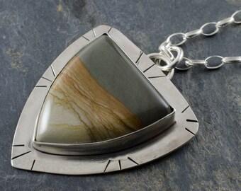 Cripple Creek Jasper Pendant. Desert Sunset Pendant. Jasper Gemstone. Shield Pendant. Cabochon Necklace. Gemstone Pendant.