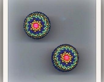 Beadwoven Peacock Earrings . Salmon Pink Star Stone . Beaded Lace Post Earrings .  Beadwork - Salmon Pink Gemstone by enchantedbeads on Etsy