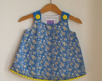 Blue Floral Liberty of London Girls' Dress - Size 3 - 6 Months - Blue Floral Baby Dress with Yellow Buttons & Trim