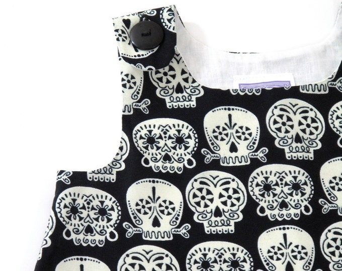 Sugar Skulls Day of the Dead Baby Dress, Girls Dress, Newborn Dress, Sizes Newborn to 12 - 18 Months, Sugar Skull Halloween Costume Dress