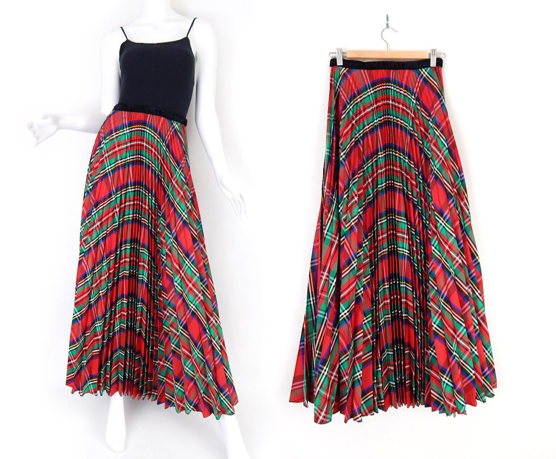 vintage 70s plaid pleated maxi skirt size 6