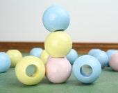 Vintage Pastel Macrame Beads – Round Large Hole Plastic Blue, Pink Yellow Beads – Macrame Supply