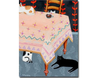 Original Cat Folk art painting 4 cats at the table Black cat white cats Acrylic painting by Artist TASCHA 14x11 inches