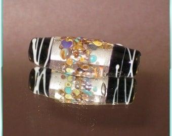 Handmade Lampwork Glass Bead in Crystal Clear glass-Black and Raku - Focal Art Bead   - SRA - Raku Spinner - 3184